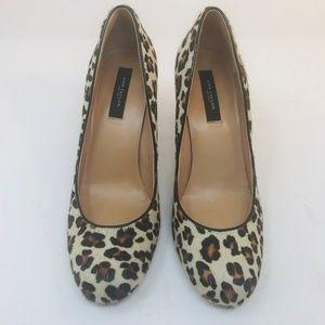 Ann Taylor Calf Hair Leopard Print Heels